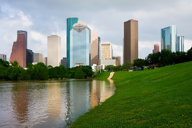 Skyscrapers reflecting in the river in Houston