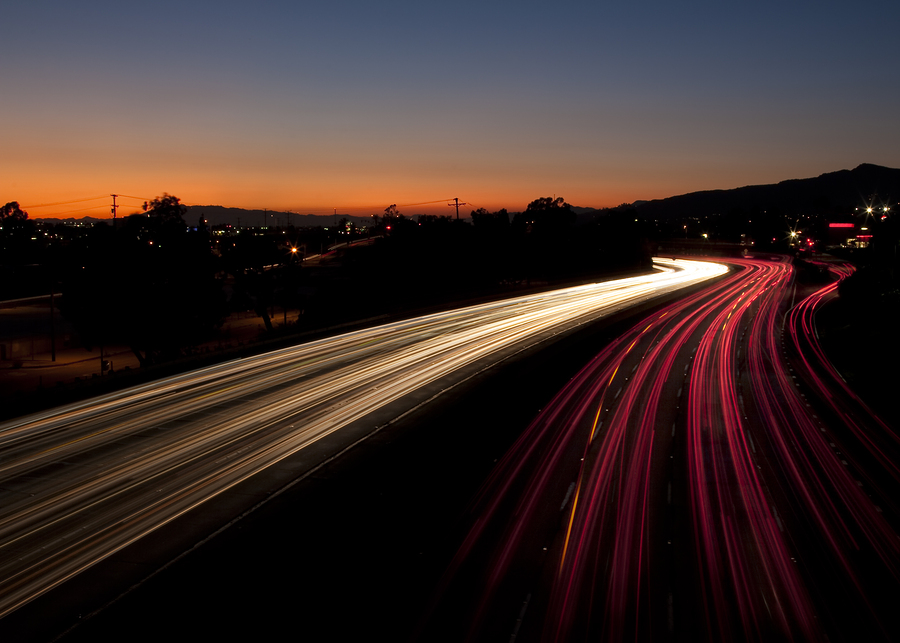 Long Exposure of the 5 Freeway in Los Angeles California at sunset.