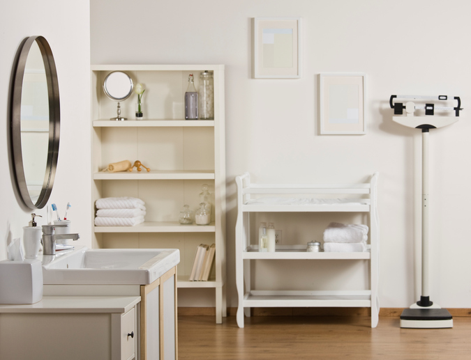 Image of bathroom decorated with niche area for towels and essentials