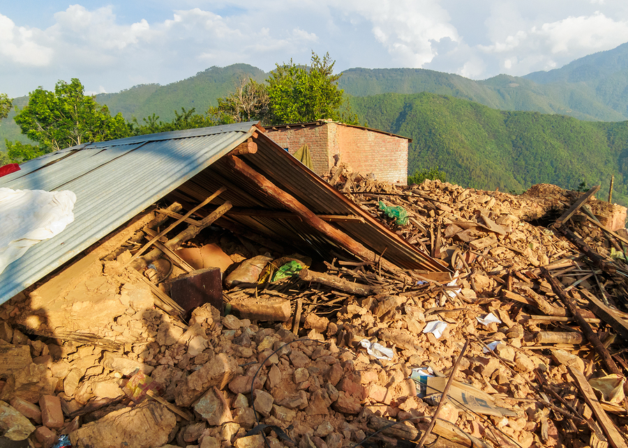 KOT DANDA, LALITPUR, NEPAL - MAY 2, 2015: Damaged house after th