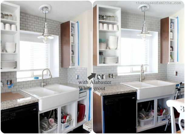 Gray subway tile backsplash - thehouseofsmiths.com