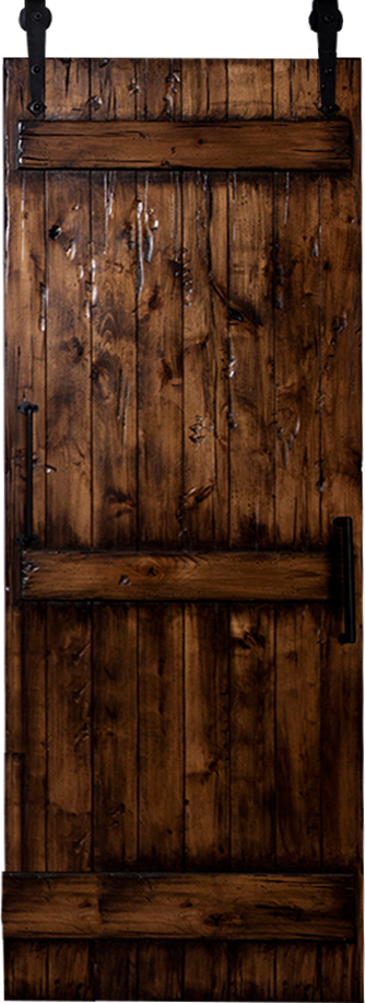 Barn door with photo collage