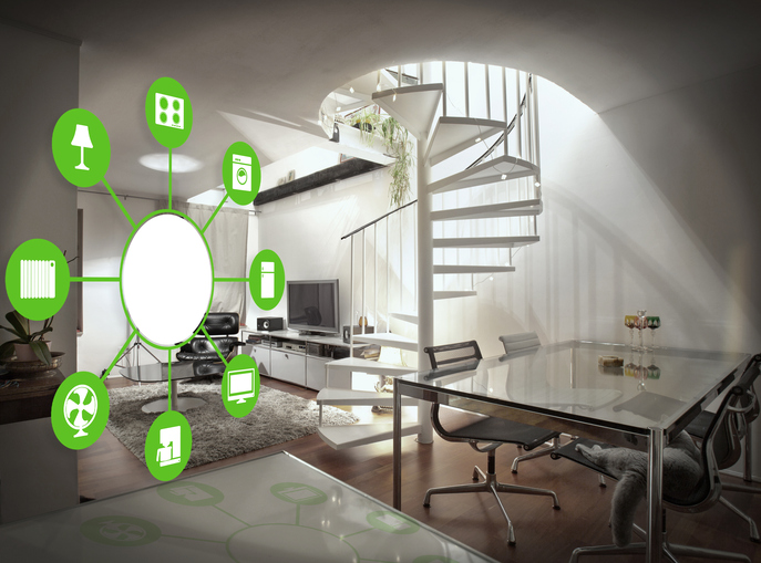 Image of smart house home automation device illustration with app icons