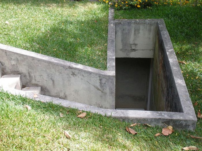 Entryway to an underground bomb shelter